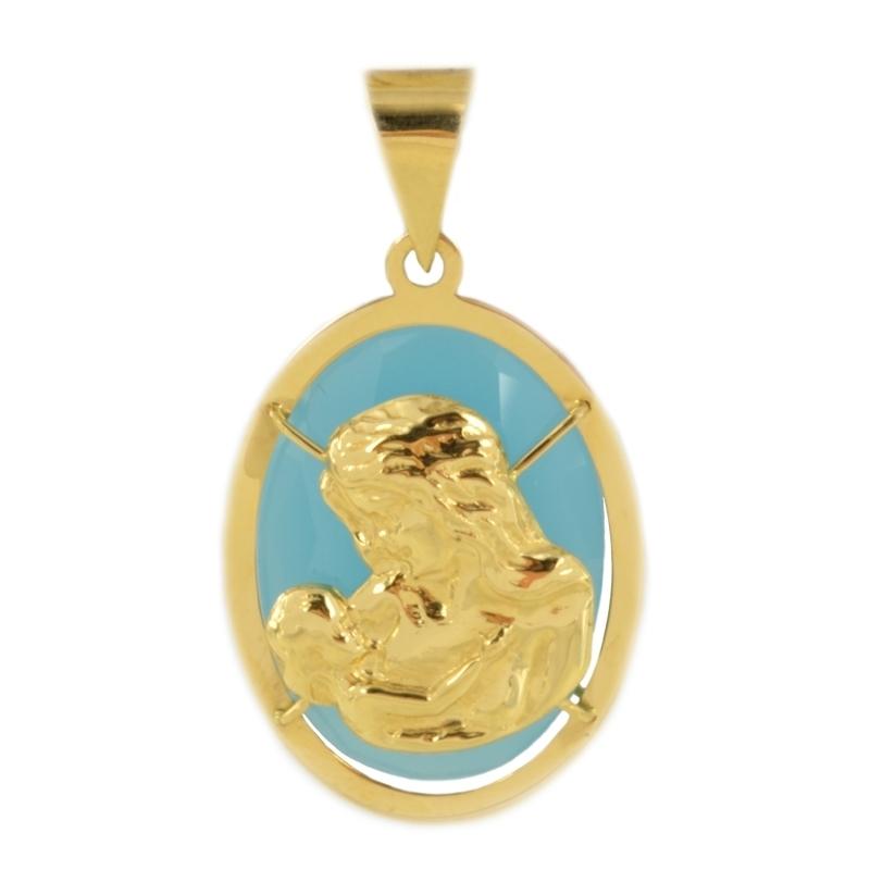 Colgante oro virgen niño Ágata azul