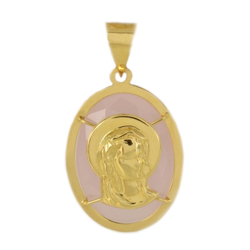 Colgante oro Virgen Ágata rosa
