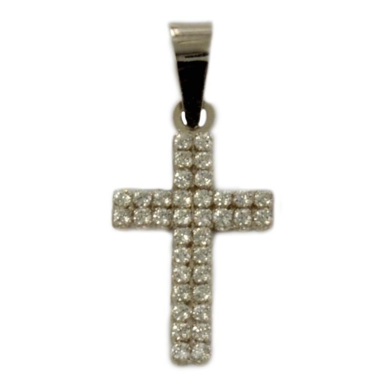 Cruz Oro blanco con circonitas