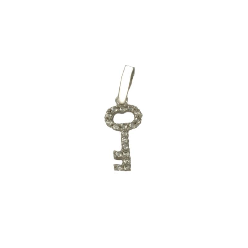 Colgante llave oro blanco con circonitas