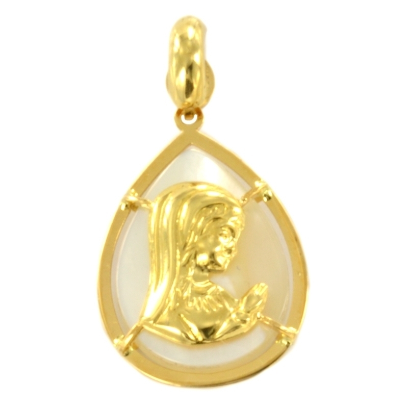 Colgante oro virgen oro amarillo nácar