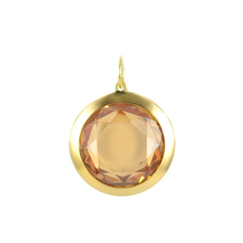 Colgante en oro amarillo con piedra redonda