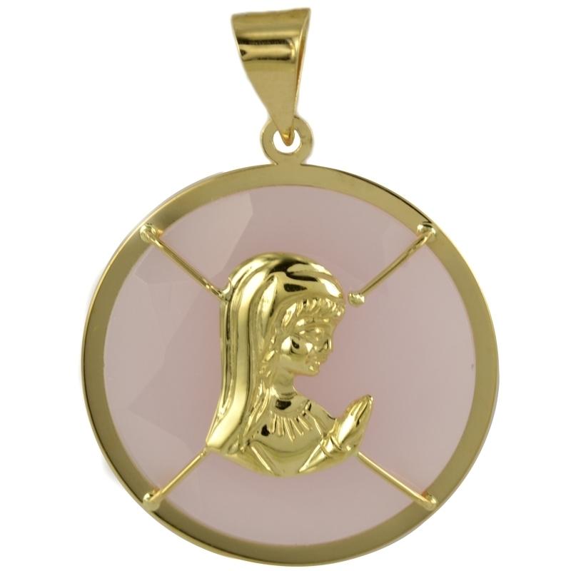 Colgante virgen Ágata rosa
