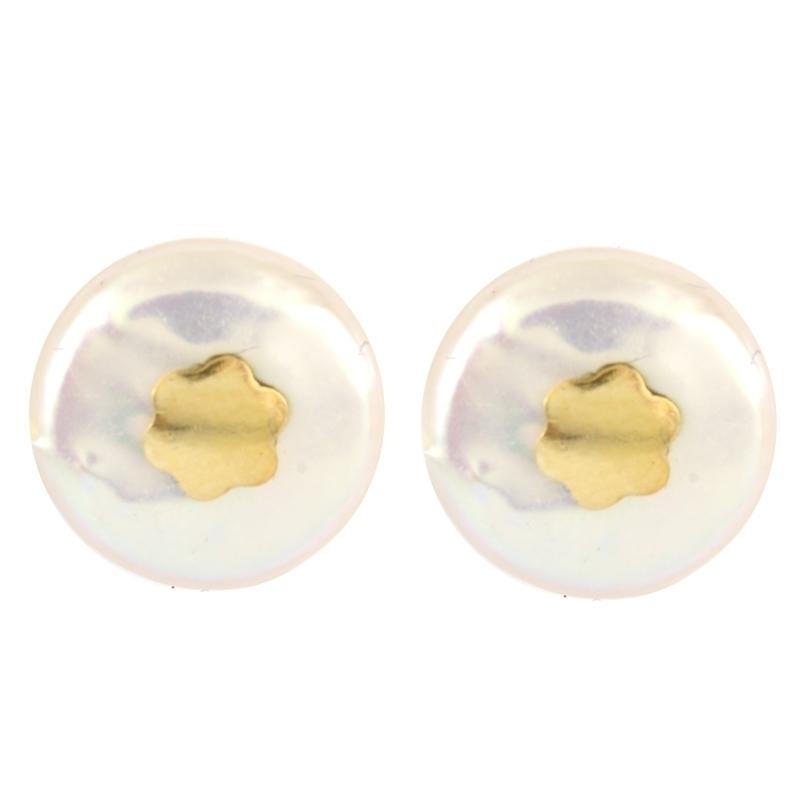 Pendientes oro perla