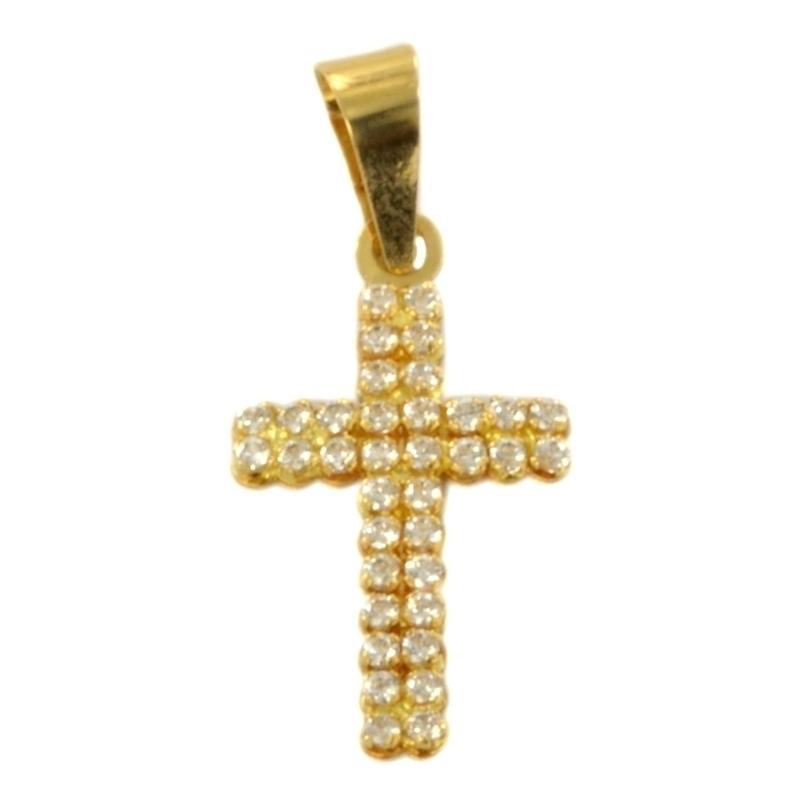 Cruz oro amarillo con circonitas