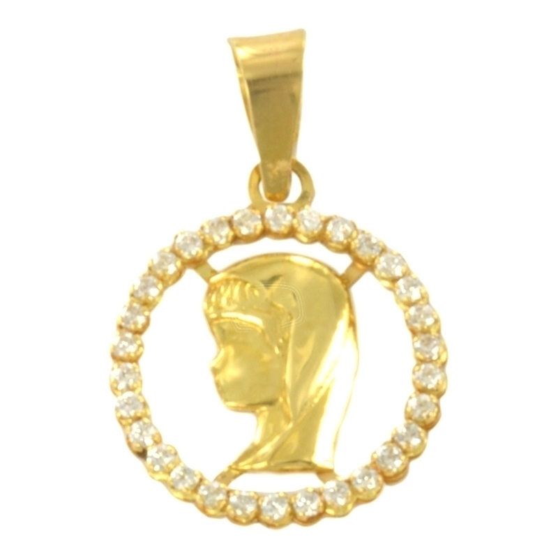 Colgante oro virgen con circonitas