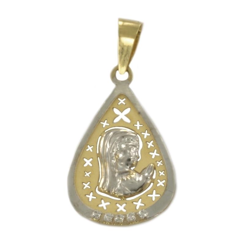 Medalla oro virgen bicolor con circonitas