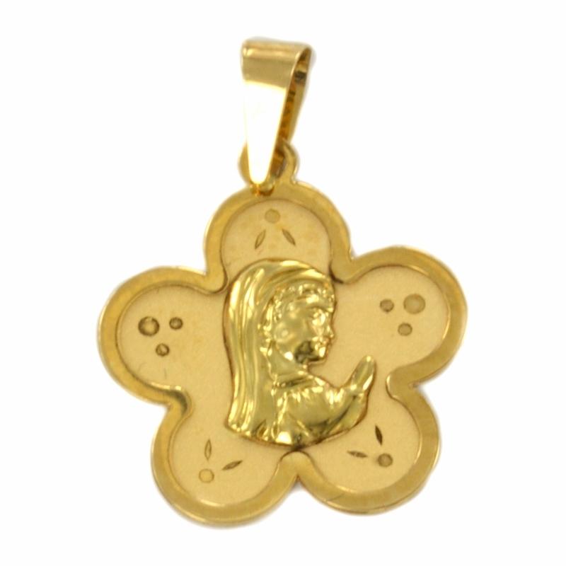 Colgante oro virgen con forma de flor
