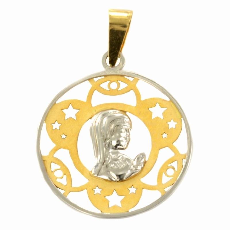 Colgante oro Virgen bicolor estrellas