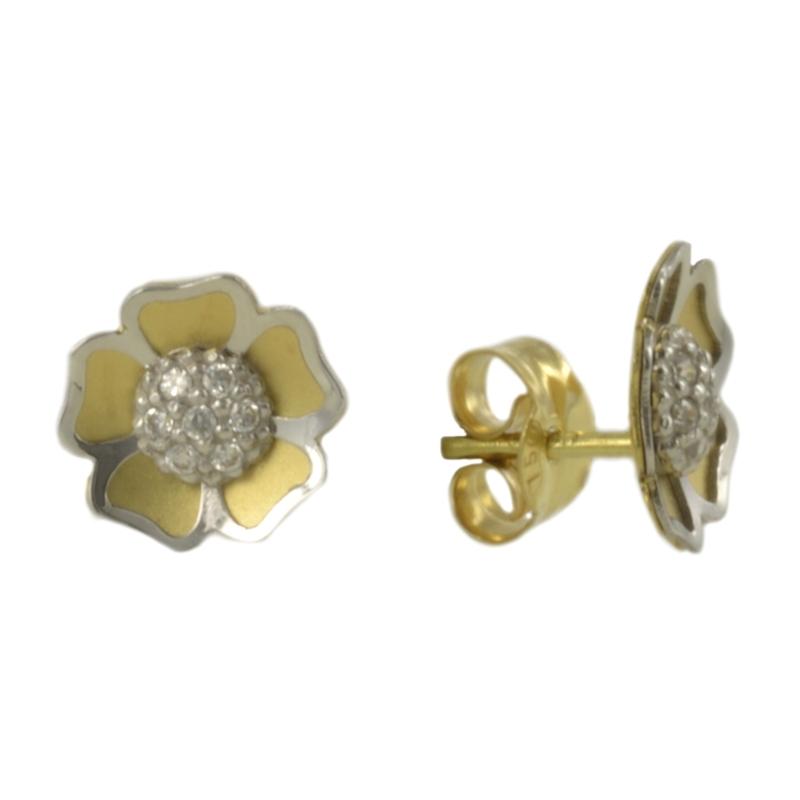 Pendiente Oro Bicolor 18K flor con circonitas