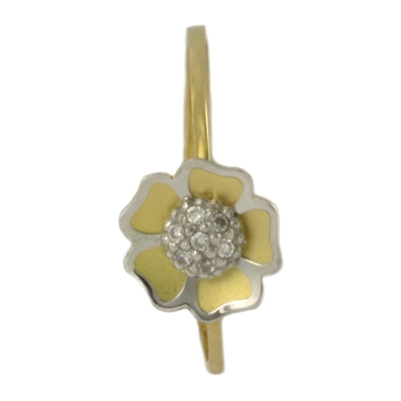 Anillo de Oro con flor bicolor con circonitas