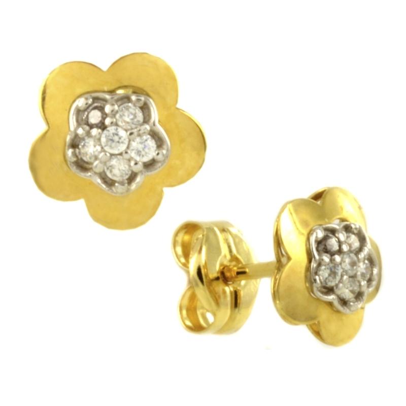 Pendiente Oro Bicolor 18K, flor con circonitas – Niña
