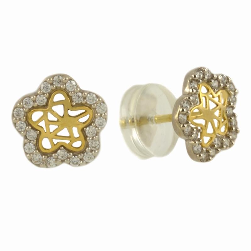 Pendientes Oro Bicolor 18K, estrella con circonitas – Niña