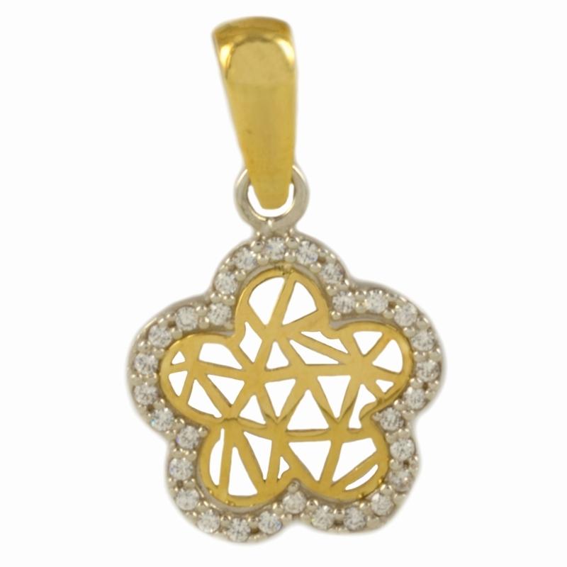 Colgante Oro Bicolor 18K, estrella con circonitas – Niña