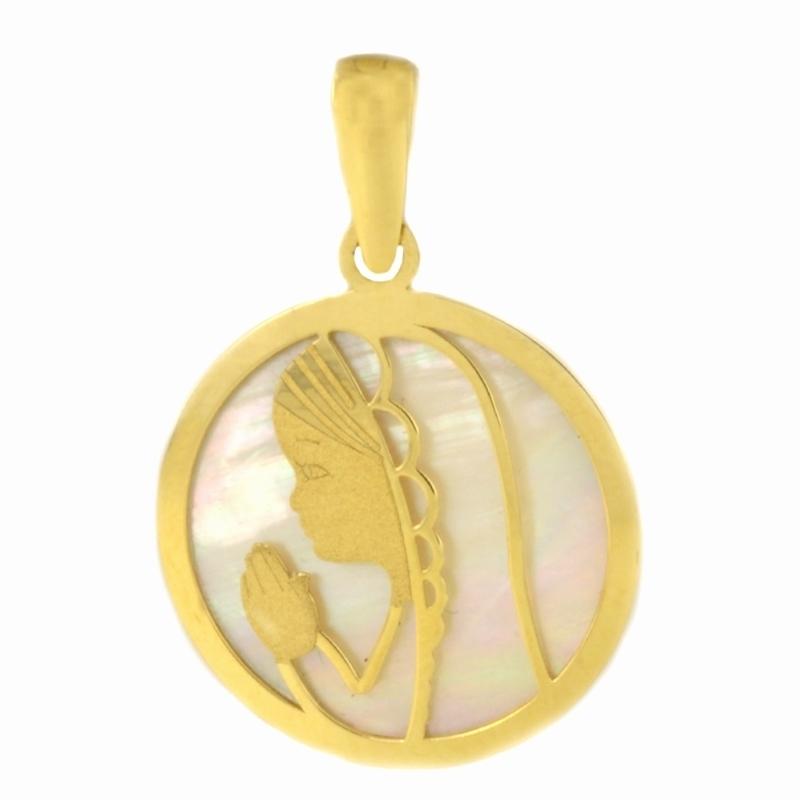 Medalla redonda Oro Amarillo 18K y Nácar – Comunión