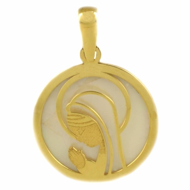 Medalla Oro Amarillo 18K y Nácar, Virgen Niña – Comunión.