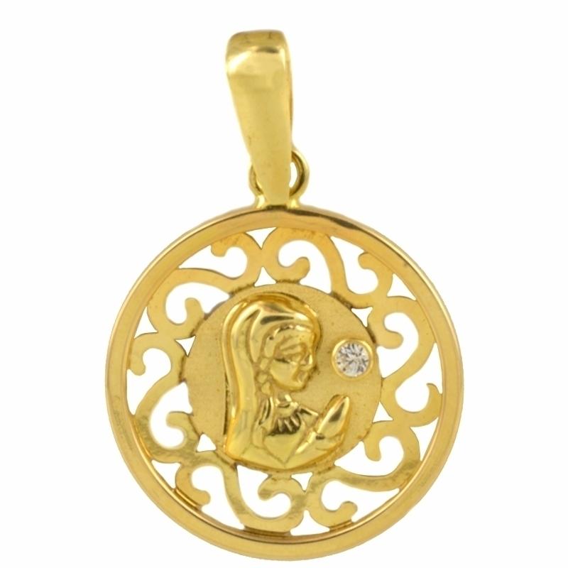 Medalla Oro Amarillo 18K Virgen Niña con circonita – Comunión.