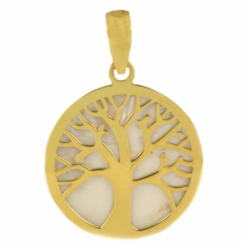 Colgante Oro Amarillo 18K Árbol de la Vida y Nácar – Destacados.