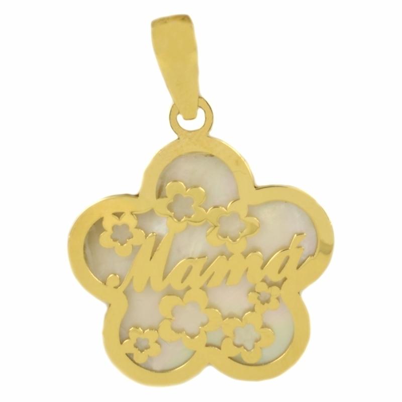 Colgante Flor y Nácar Oro Amarillo 18K, Mama – Día de la madre