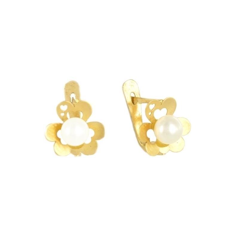 Pendientes de oro con perla