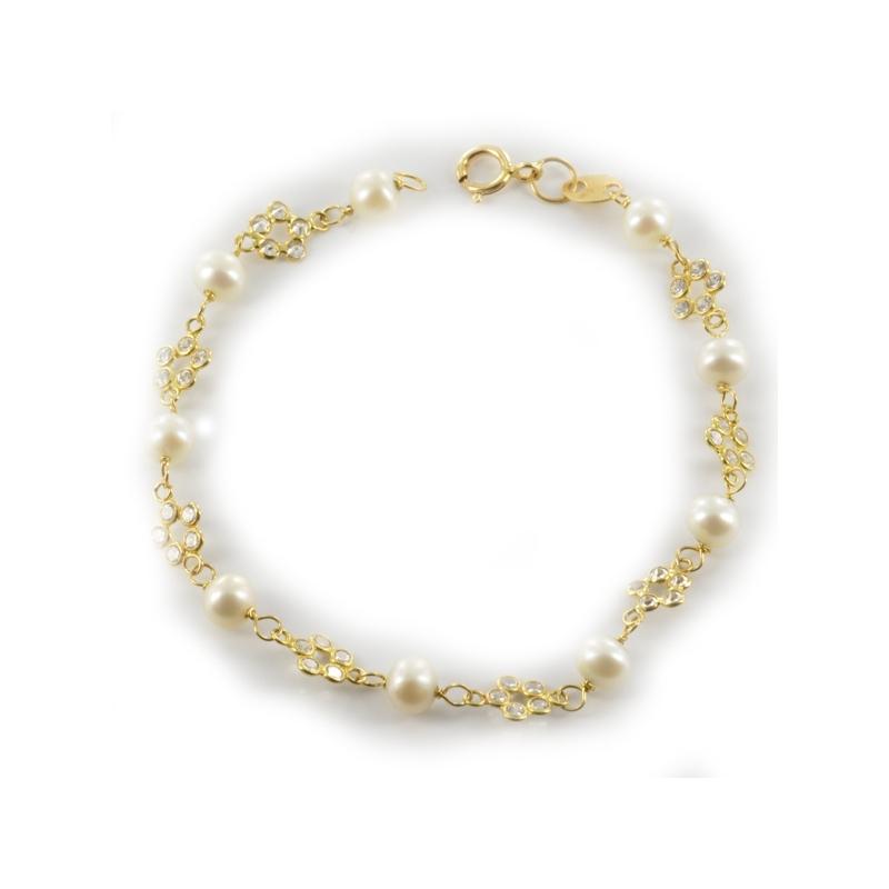 Pulsera perlas y circonitas