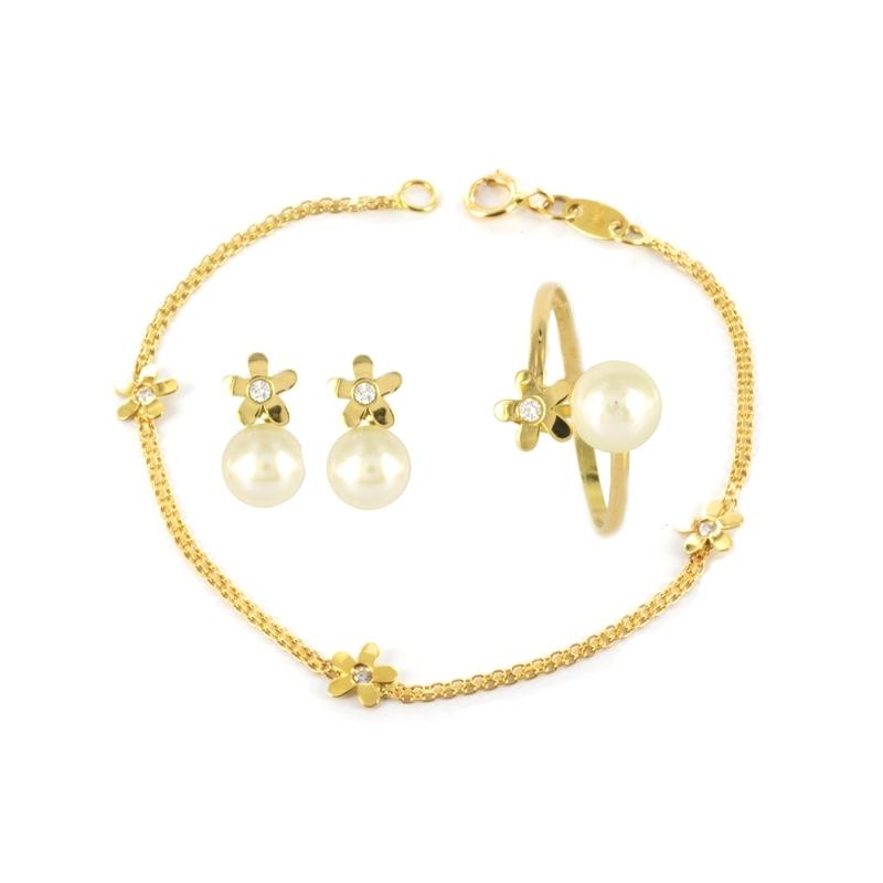 Juego comunión compuesto por pulsera, pendientes y anillo