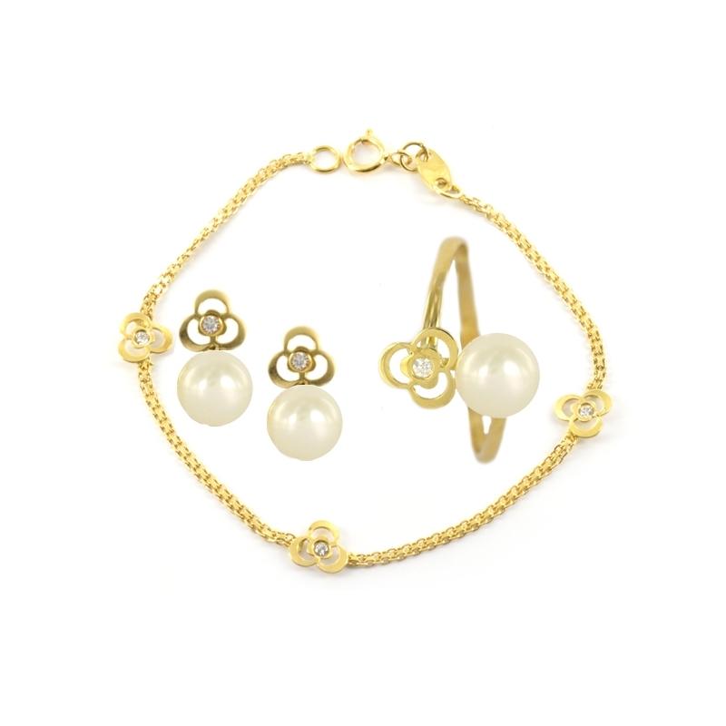 Conjunto Comunión en Oro Amarillo 18K Perlas y Circonitas