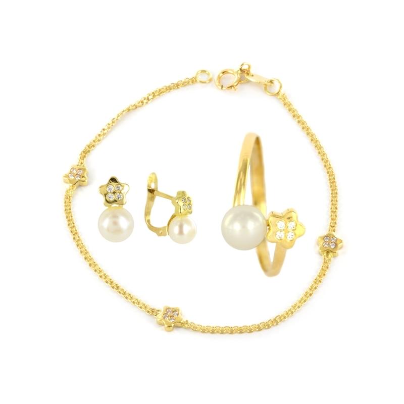 Conjunto Comunión en Oro Amarillo 18K Perlas y Circonitas.