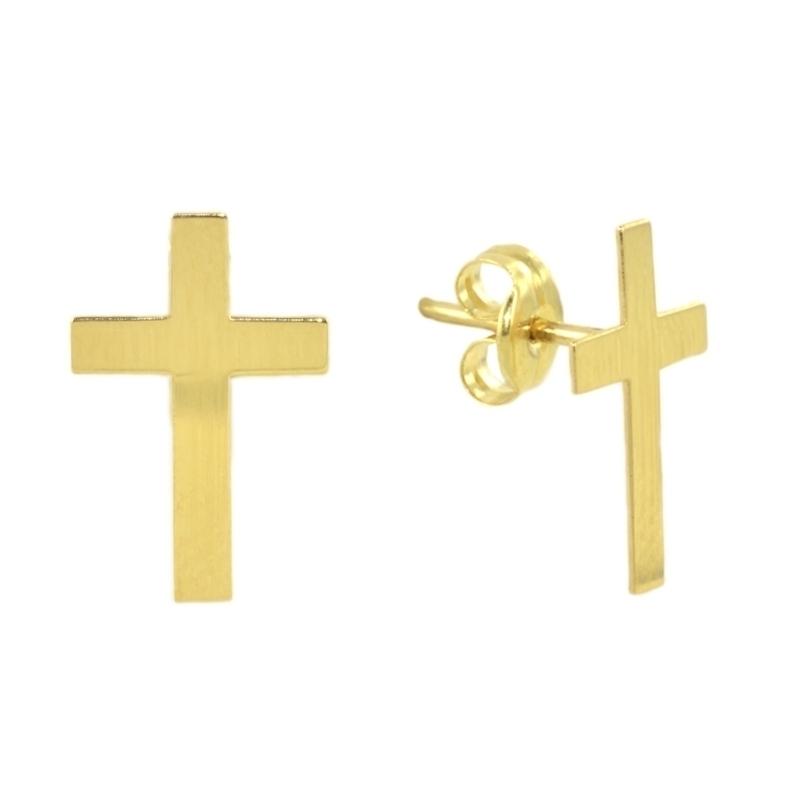 Pendientes Oro amarillo cruz