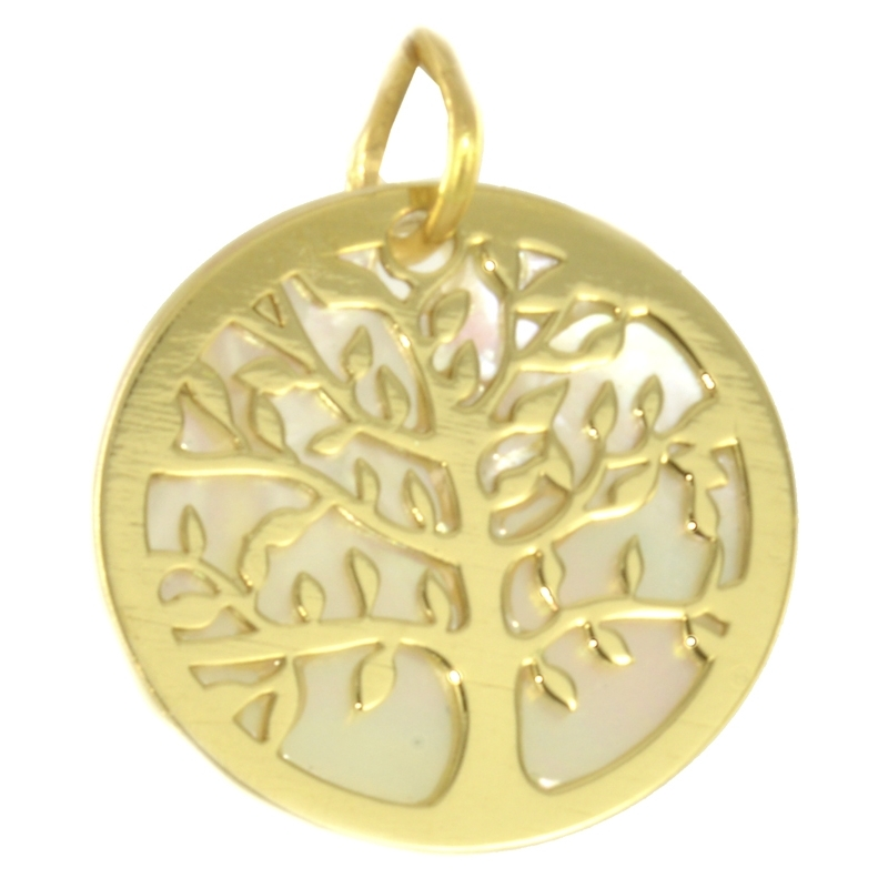 Colgante árbol de la vida oro 18k y nácar