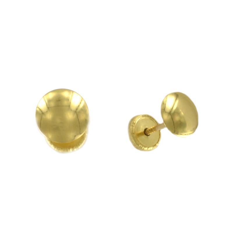 Pendientes oro amarillo media bola