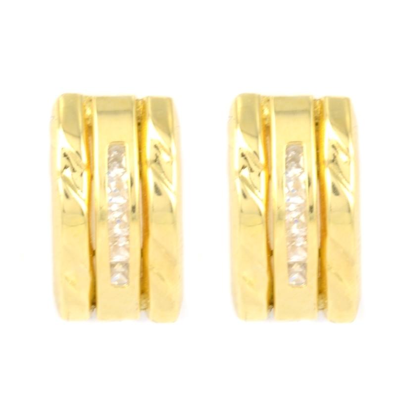 Pendientes oro bicolor y circonitas