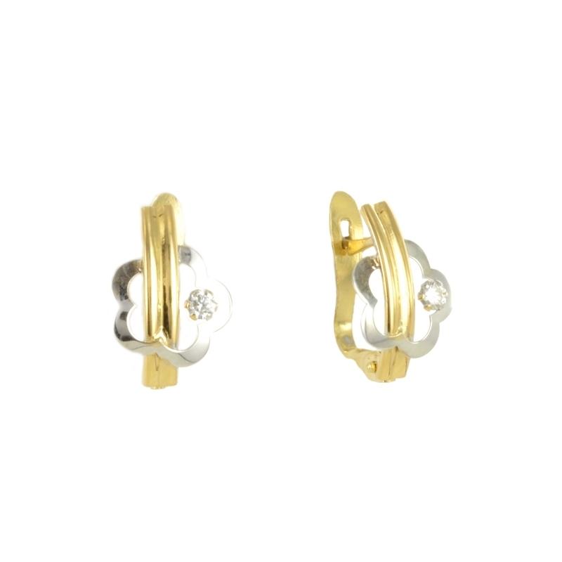 Pendientes oro bicolor con circonita