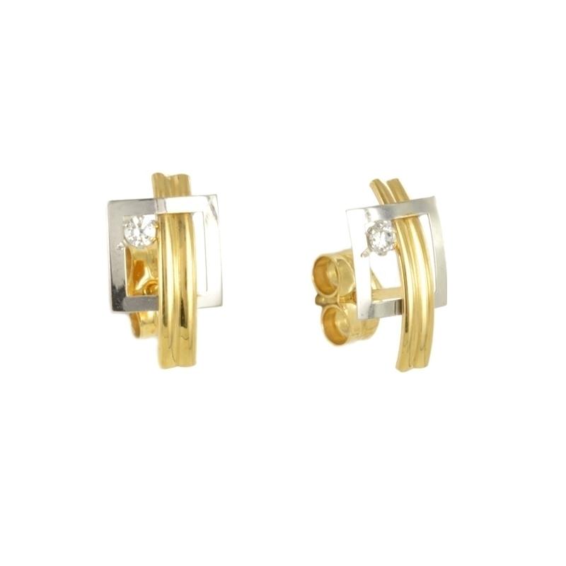 Pendientes de oro bicolor con circonita