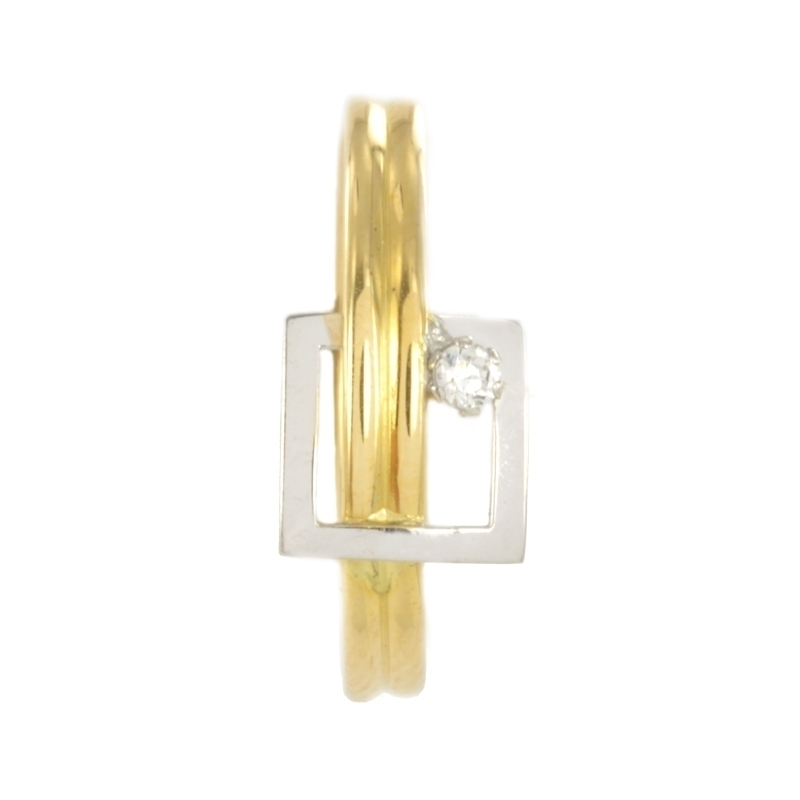 Anillo de oro bicolor con circonita
