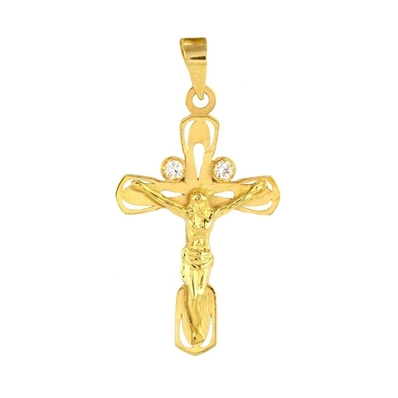 Cruzo de oro con cristo y circonitas