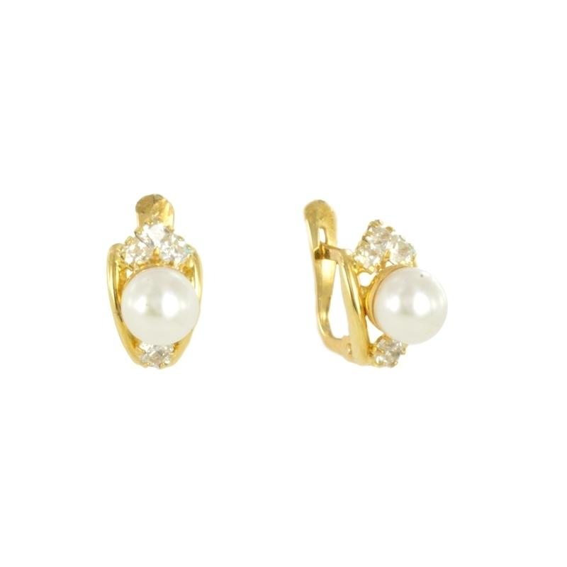 Pendientes de oro con perla y ciconita