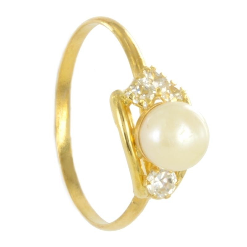 Anillo oro con perla y circonita