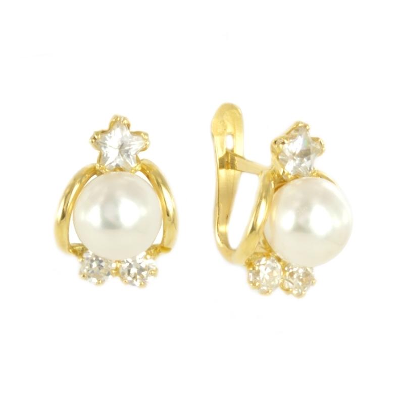Pendientes oro perla y circonitas