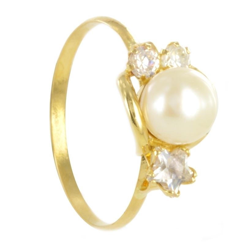 Anillo oro perla y circonita