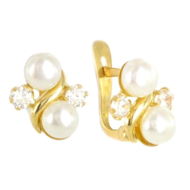 Pendientes oro perla y circonita