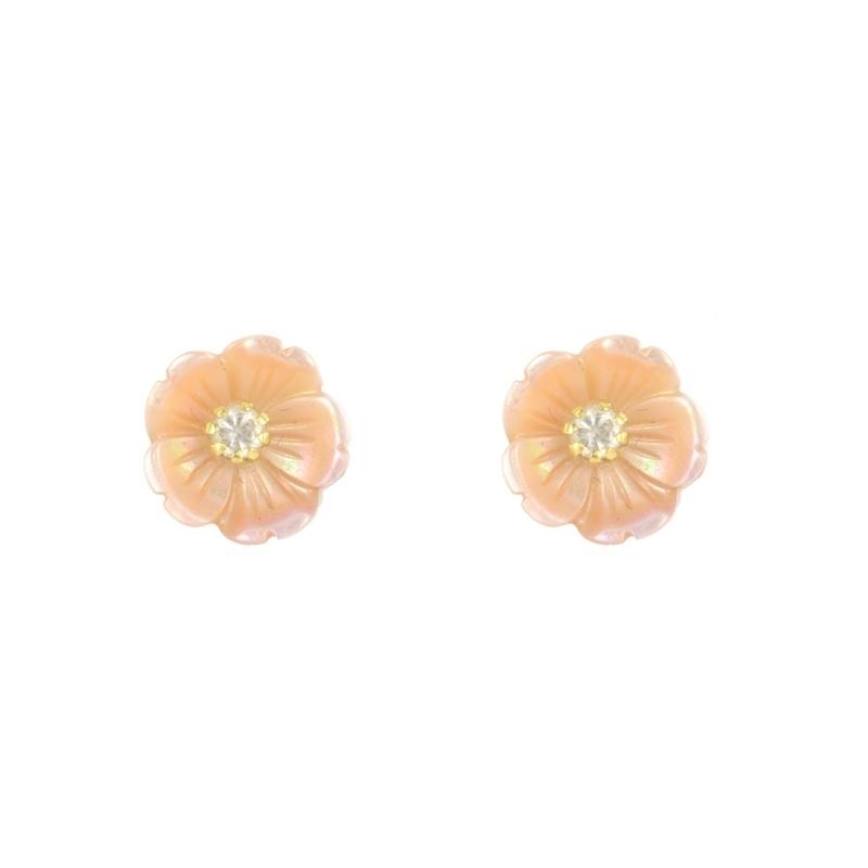 Pendientes oro Flor nacar circonita