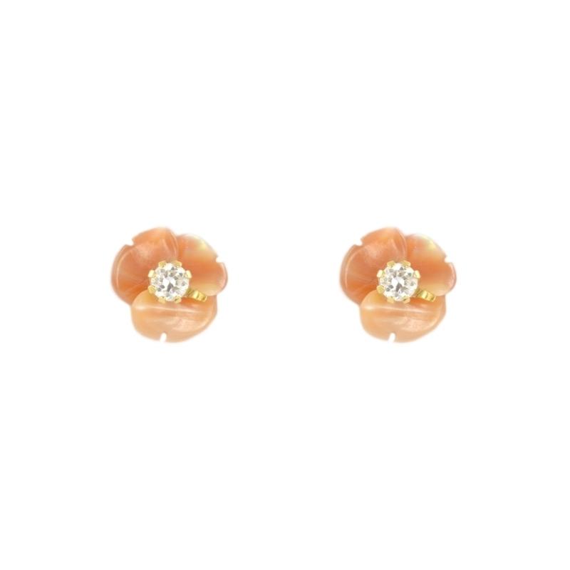 Pendientes oro Flor Nácar rosa y circonita