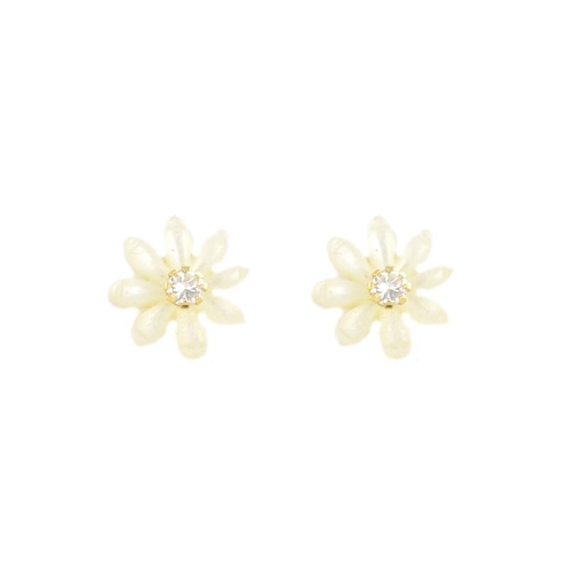 Pendientes oro Flor Nácar blanca y circonita