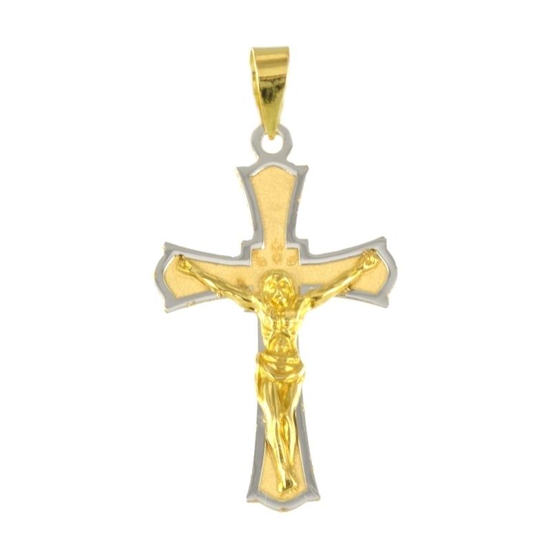 Cruz oro Bicolor 18K Cristo