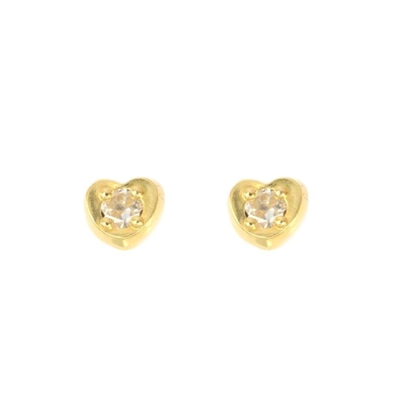 Pendientes oro corazon con circonitas