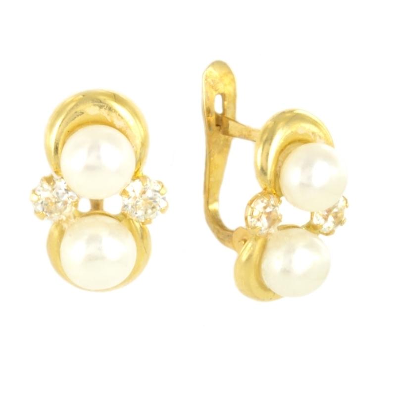 Pendientes oro comunión con perla