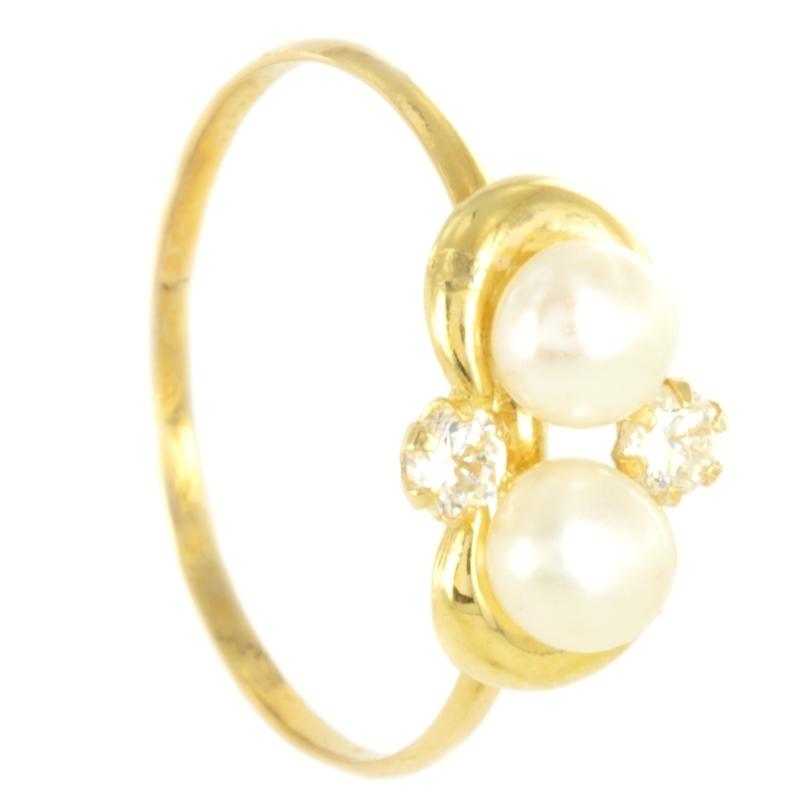 Anillo oro comunión con perla