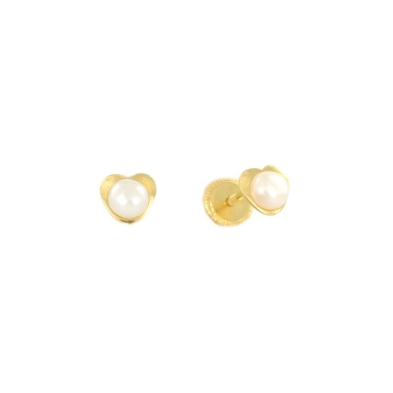 Pendientes oro corazon con perla