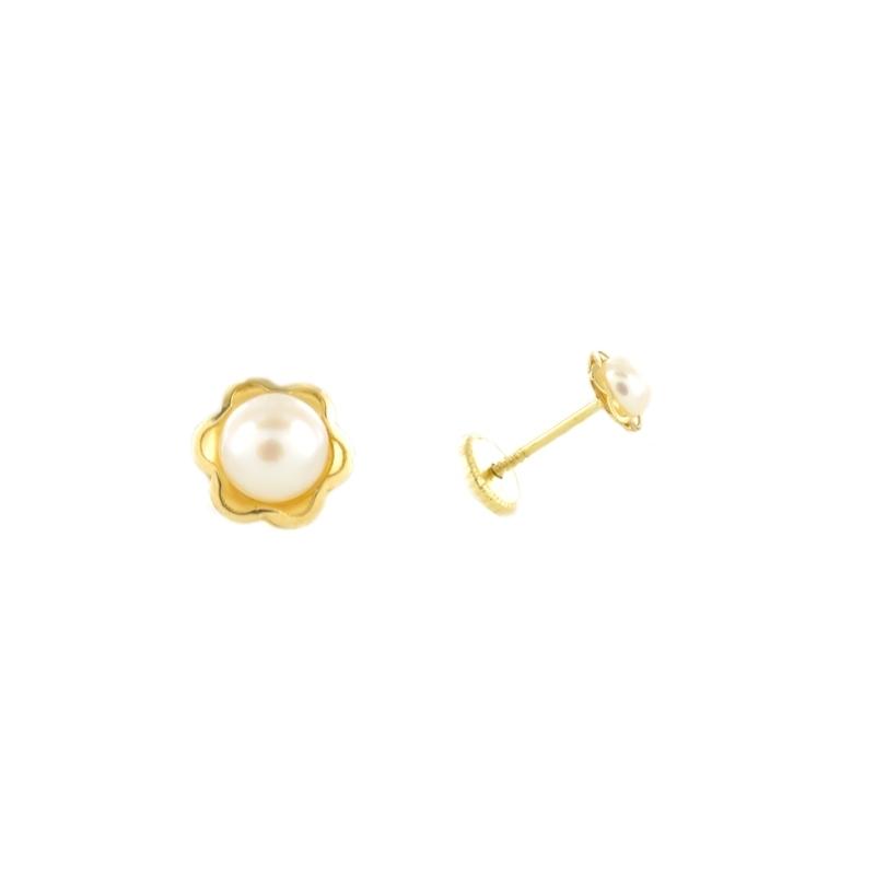 Pendientes oro Flor con perla